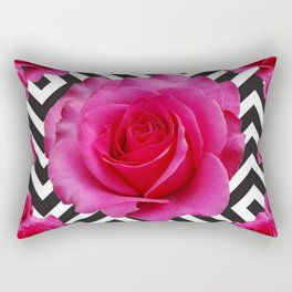 CONTEMPORARY  PINK ROSES B&W ABSTRACT Rectangular Pillow