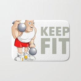 "Funny Bodybuilder said: ""Keep Fit!"". Vector Illustration Bath Mat"