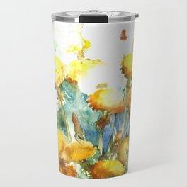 Watercolor yellow dandelion flowers Travel Mug