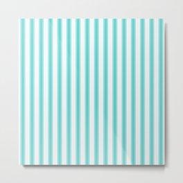 Tiffany Aqua Blue and White Wide Mattress Ticking Stripes Metal Print
