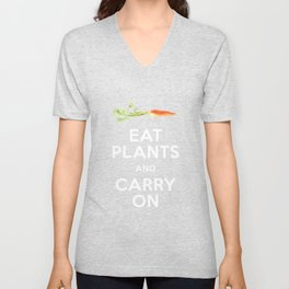 Eat Plant and Carry On Ultra Violet Background Unisex V-Neck