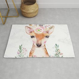 Forest Fawn Floral Marble by Nature Magick Rug