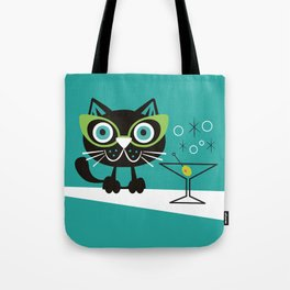 1950s Swank Mid Century Modern Martini Cocktail Kitty Cat Tote Bag