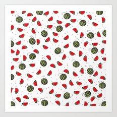 Summer Watermelon Fruit Pattern Art Print