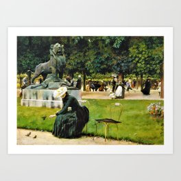 Charles Courtney Curran - In The Luxembourg Garden - Digital Remastered Edition Art Print