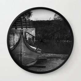 Resting boat (B&W) Wall Clock