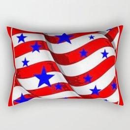 RED PATRIOTIC JULY 4TH BLUE STARS AMERICANA ART Rectangular Pillow