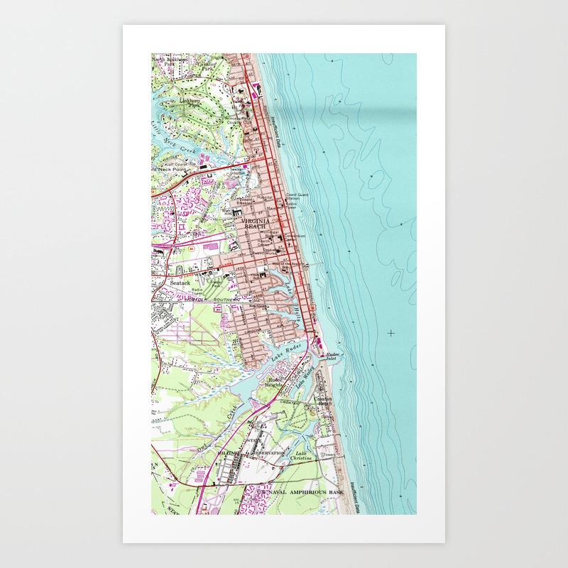 photo regarding Printable Maps of Virginia called Traditional Map of Virginia Seaside (1965) Artwork Print