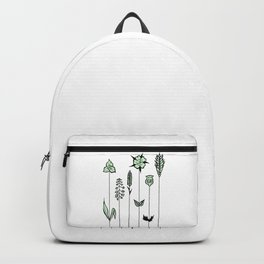 Wildflower Stems Design — Green Wildflowers Illustration Backpack