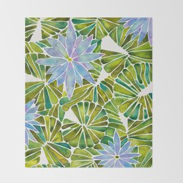 Water Lilies – Lavender & Green Palette Throw Blanket