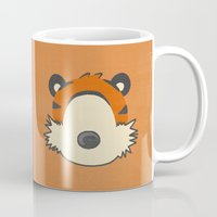hobbes Mugs featuring A boy and his tiger by Raquel Segal
