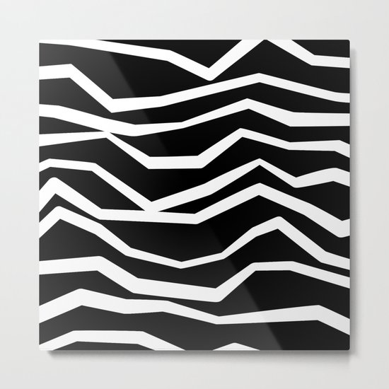 Wavy zig zag lines edgy black and white Metal Print
