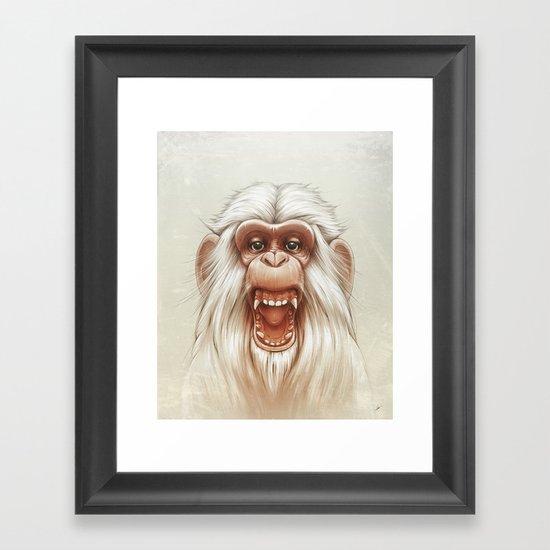 The White Angry Monkey Framed Art Print