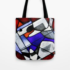 Red and Blue Montreal Stain Glass Window Tote Bag