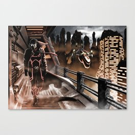 Man walking in a sci-fi city Canvas Print