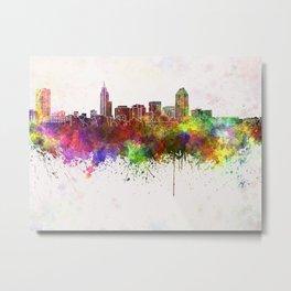 Raleigh skyline in watercolor background Metal Print