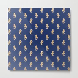 Elegant navy blue faux gold glitter nautical seahorse pattern Metal Print
