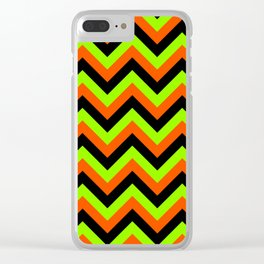 Green Orange and Black Chevrons Clear iPhone Case