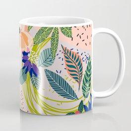 Wander, Floral Colorful Summer Modern Bohemian Illustration, Nature Blush Botanical Tropical Garden Coffee Mug