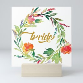 Bride Modern Typography Floral Wreath Mini Art Print