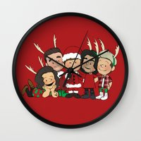 liam payne Wall Clocks featuring It's Christmas, Liam Payne by Ashley R. Guillory