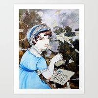 jane austen Art Prints featuring Jane Austen by Makissima