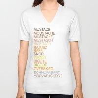 mustache V-neck T-shirts featuring Mustache by Wanker & Wanker