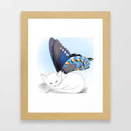 White Kitten Fairy Framed Art Print