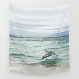 Anna Maria Island Florida Seascape with Heron Wall Tapestry