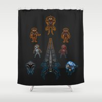 mass effect Shower Curtains featuring Mass Effect 2 Baddies by Vaahlkult