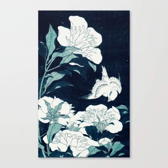 JAPANESE FLOWERS Midnight Blue Teal Canvas Print