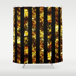 Golden Stripes - Abstract, black and gold, metallic, textured, stripy pattern Shower Curtain