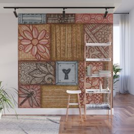 Patchwork Tiles Grains and Metal Wall Mural