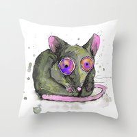 rat Throw Pillows featuring Rat by Bwiselizzy