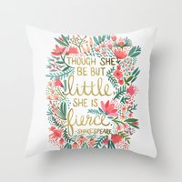 lettering Throw Pillows featuring Little & Fierce by Cat Coquillette