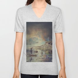 Chinese boat in the mist Unisex V-Neck