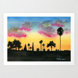 Sunset Los Angeles Art Print