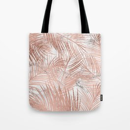 Tropical modern faux rose gold palm tree leaf white marble pattern Tote Bag