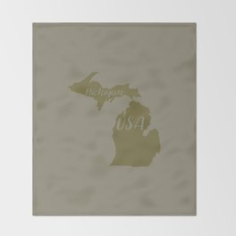 Michigan, USA Outline in Green Throw Blanket