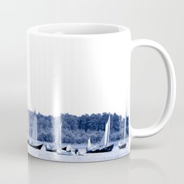 Dutch sailing boats in Delft Blue colors Coffee Mug