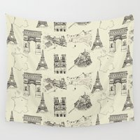 france Wall Tapestries featuring France vintage by berry