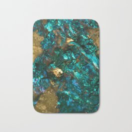 Teal Oil Slick and Gold Quartz Bath Mat