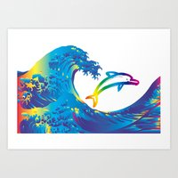 hokusai Art Prints featuring Hokusai Rainbow & dolphin_C by FACTORIE