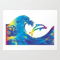 hokusai Art Prints featuring Hokusai Rainbow & dolphin_C by FACTORIE