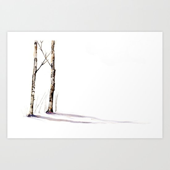 Birch Trees in January Art Print