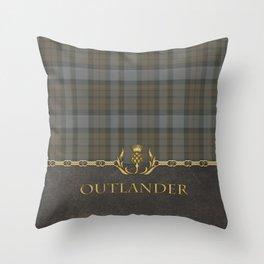 OUTLANDER TARTAN LEATHER Throw Pillow