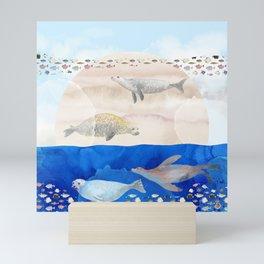 Seals, Sand, Ocean - Surrealist Dreams Mini Art Print