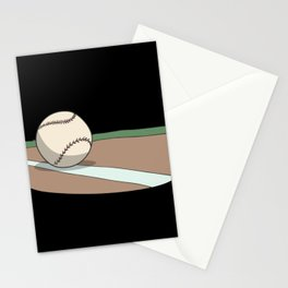 Baseball ball on the infield Stationery Cards