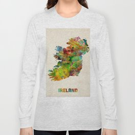 Ireland Eire Watercolor Map Long Sleeve T-shirt