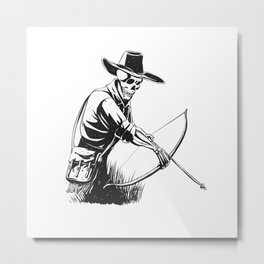 Cowboy skeleton with crossbow - black and white - gothic skull cartoon - ghost silhouette Metal Print